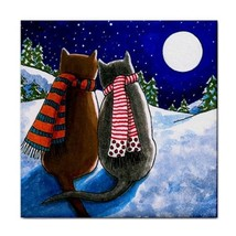 Cat 599 moon winter Large Ceramic Tile Coaster 6x6 Made USA art painting... - $22.99