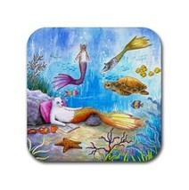 Rubber Coasters set of 4, Cat Mermaid 31 Sea Turtle Ocean Art painting L... - $13.99