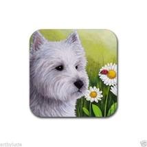 Rubber Coasters set of 4, art painting Dog 83 Westie West Highland Ladybug - $13.99