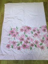 Vintage Sears Perma Prest Field Flower Pink Twin Flat Sheet No Iron 1970s - $19.79