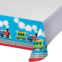 "All Aboard 54"" x 102"" Border Print Plastic Tablecover/Case of 6 - €38,87 EUR"