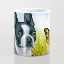 Coffee Mug Cup 11oz 15oz Made in USA Dog 134 Boston Terrier Butterfly ar... - $19.99+