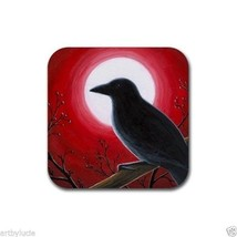 Rubber Coasters set of 4, from art painting Bird 62 Crow Raven Moon L.Dumas - $13.99