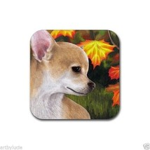 Rubber Coasters set of 4, from art painting Dog 84 Chihuahua Autumn Fall... - $13.99