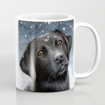 Coffee Mug 11oz 15oz Made USA Dog 100 black Labrador Snow Winter art LDumas - $19.99+