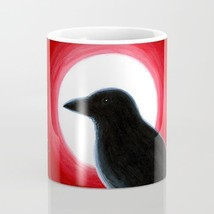 Coffee Mug Cup 11oz or 15oz Made in USA Bird 62 Crow Raven Moon Red art ... - $19.99+