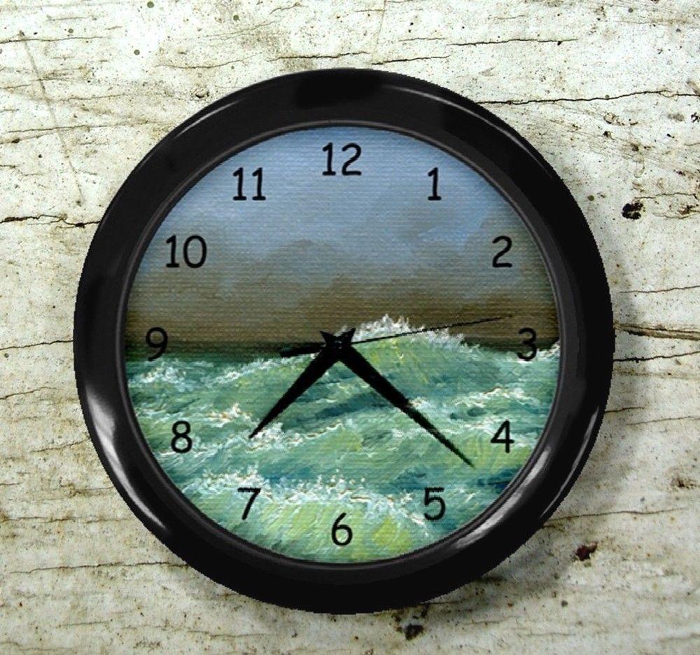 Black wall clock mural clock sea view 249 ocean wave art for Clock wall mural