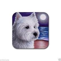 Rubber Coasters set of 4, art painting Dog 81 Westie West Highland White... - £10.42 GBP