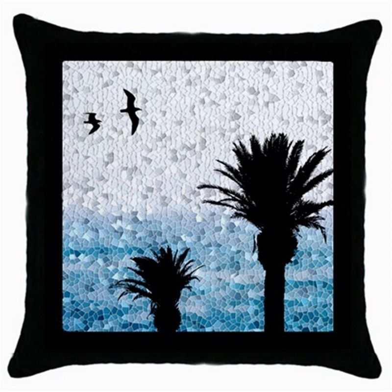 Black Throw pillow Case cushion Design 25 Palm Trees Bird Mosaic look by L.Dumas