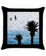 Black Throw pillow Case cushion Design 25 Palm Trees Bird Mosaic look by... - £18.52 GBP