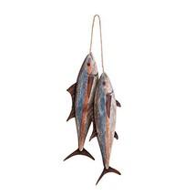 "9 1/2"" Blackfin Tuna Wood with Metal Fins Wall Hanging 2 Fish Decoration Beach N"