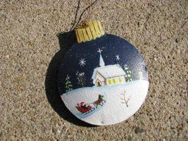 OR-516 Winter Church Ball Christmas Ornament Metal  - $1.95