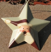 OR206 - santa metal star metal christmas ornament  - $1.95