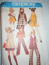 Vintage 1968 Simplicity Child Girl Size 8 Jumper Vest Skirt & Pants #8377 - $5.99