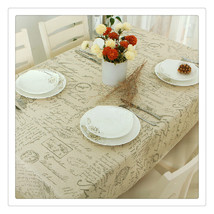 Letters printed style Flax Machine Washable Tablecloth Kitchen Tablecloth - $15.99+