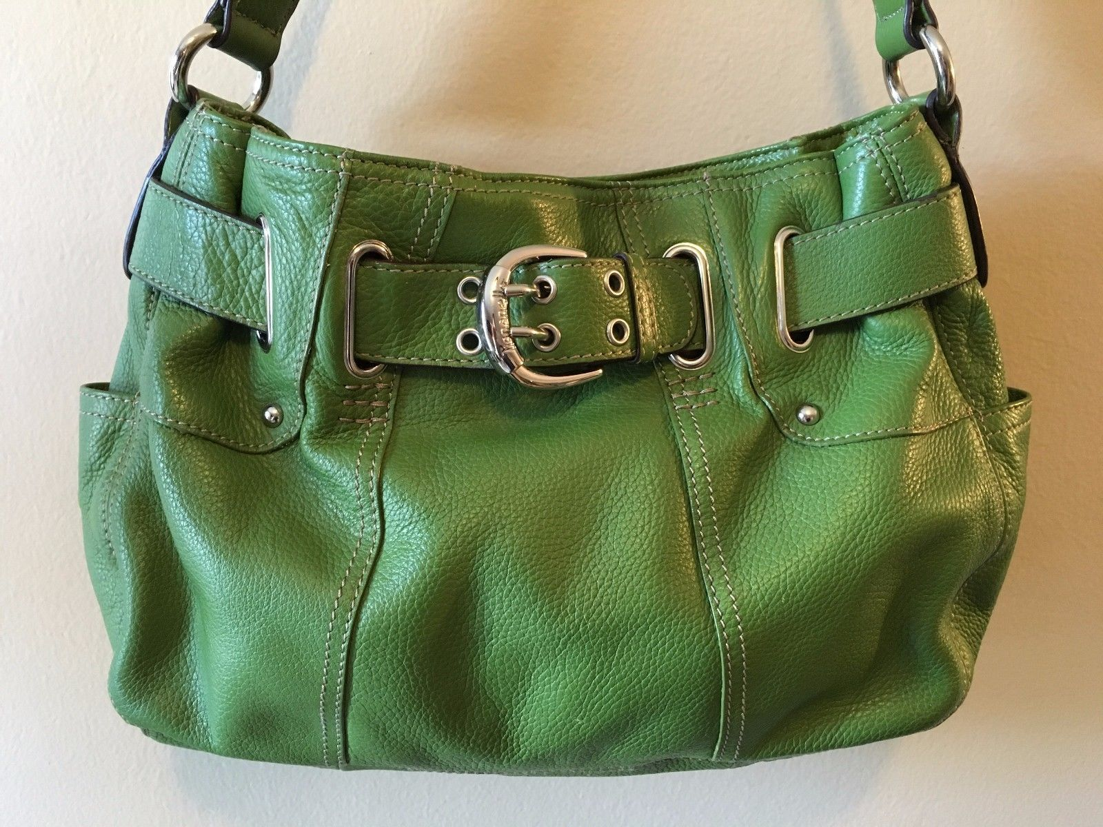 592d4ebe16 57. 57. Previous. Tignanello Green Pebbled Leather Buckle Belted Shoulder  Satchel Purse Bag PB2 · Tignanello Green Pebbled ...