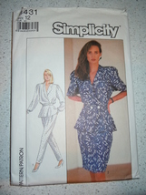 Vintage 1987 Simplicity Miss Size 12 Top Pants & Skirt #8431 - $5.99