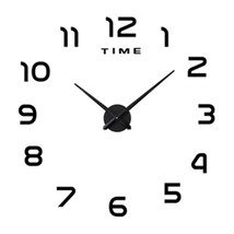 DIY Silent Wall Clock Simple Mirror Sticking   black - $30.99