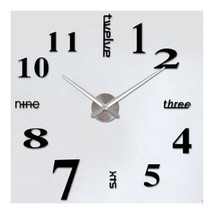 Creative Wall Clock Simple Silent DIY Mirror    black with silver hand - $31.99
