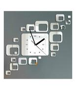 Mirror Wall Clock 3D Decoration Square Holloe   silver - $21.99