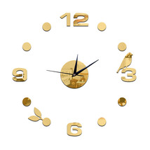 Creative Wall Clock 3D Small Bird Leaf Mirror Digit    golden - $24.99