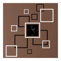 Wall Clock Stylish 3D Decoration Square Shape   black white - $23.99