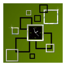 Wall Clock Stylish 3D Decoration Square Shape   black silver - $23.99