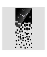 Mirror Wall Clock 3D Decoration Square Mosaic  black - $21.99