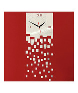 Mirror Wall Clock 3D Decoration Square Mosaic   silver - $21.99