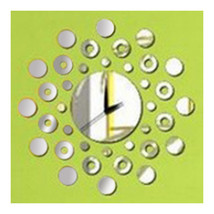 Mirror Wall Clock 3D Decoration Circle - $21.99