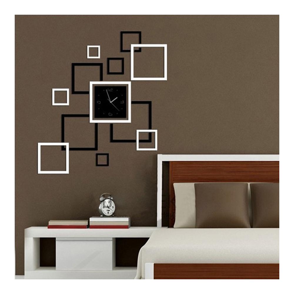Wall Clock Stylish 3D Decoration Square Shape   black white