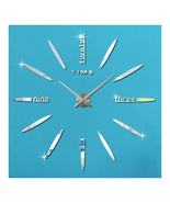 Mirror Wall Clock Super Large Size 3D Acrylic Creative DIY   silver - $31.99