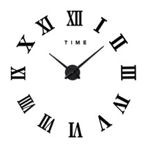 Living Room Slient Wall Clock DIY Roman Digit Mirror Sticking   black - $31.99