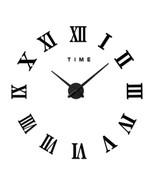 Living Room Slient Wall Clock DIY Roman Digit Mirror Sticking   black - $31.99