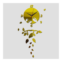 Wall Clock Living Room Decoration Mirror Leaf   golden - $29.99
