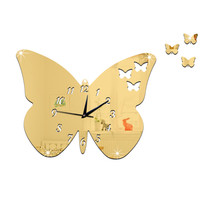 DIY Creative Decoration Butterfly Princess Mirror Quartz Wall Clock   B ... - $21.99