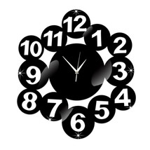 Digit Mirror Living Room DIY Quartz Wall Clock   black - $28.99