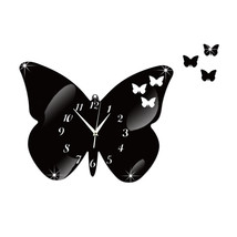 DIY Creative Decoration Butterfly Princess Mirror Quartz Wall Clock    B... - $21.99