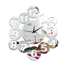 Digit Mirror Living Room DIY Quartz Wall Clock    silver - $28.99