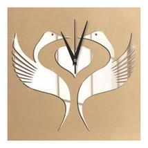 Mirror Wall Clock White Swan Wedding Room - $27.99