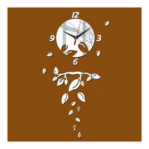 Wall Clock Living Room Decoration Mirror Leaf   silver - $29.99