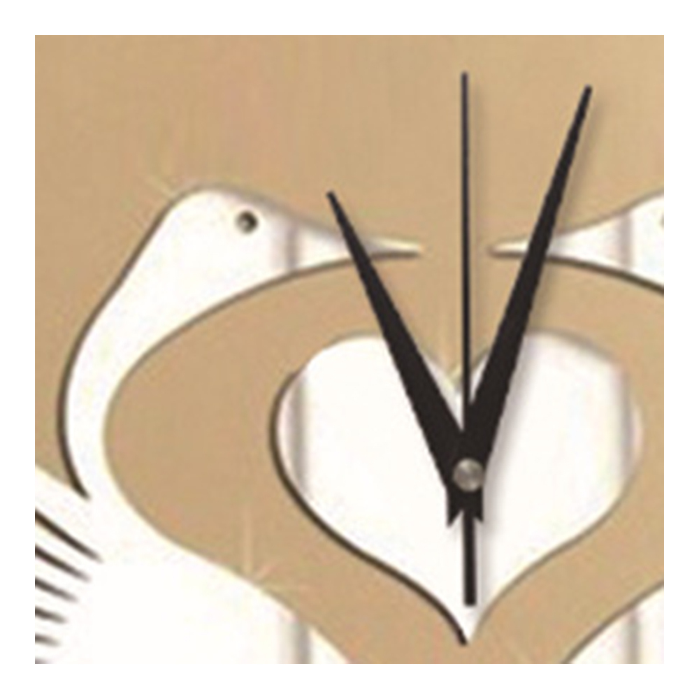 Mirror Wall Clock White Swan Wedding Room