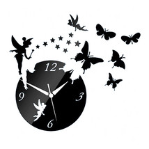 Acrylic Butterfly Creative Mirror DIY Wall Clock   black - $23.99