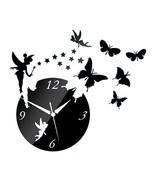 Acrylic Butterfly Creative Mirror DIY Wall Clock   black - $23.99
