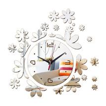 Acrylic DIY Wall Clock Mirror Creative Silent   silver - $22.99