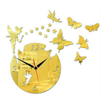 Acrylic Butterfly Creative Mirror DIY Wall Clock   golden - $23.99