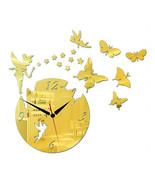 Acrylic Butterfly Creative Mirror DIY Wall Clock   golden - $23.99