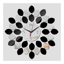Acrylic Mirror Double Color Wall Clock DIY    silver black - $22.99