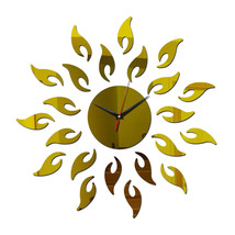 Acrylic Sunflower Mirror Living Room Wall Clock   golden - $25.99