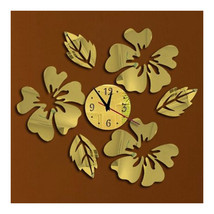 Decoration Flos Hibisci Wall Clock Creative   golden - $22.99